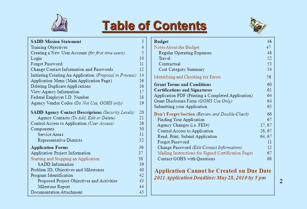 Table of Contents SADD Mission Statement3 Training Objectives 4 Creating a New User Account (for first time users)5 Login 10 Forgot Password 11 Change