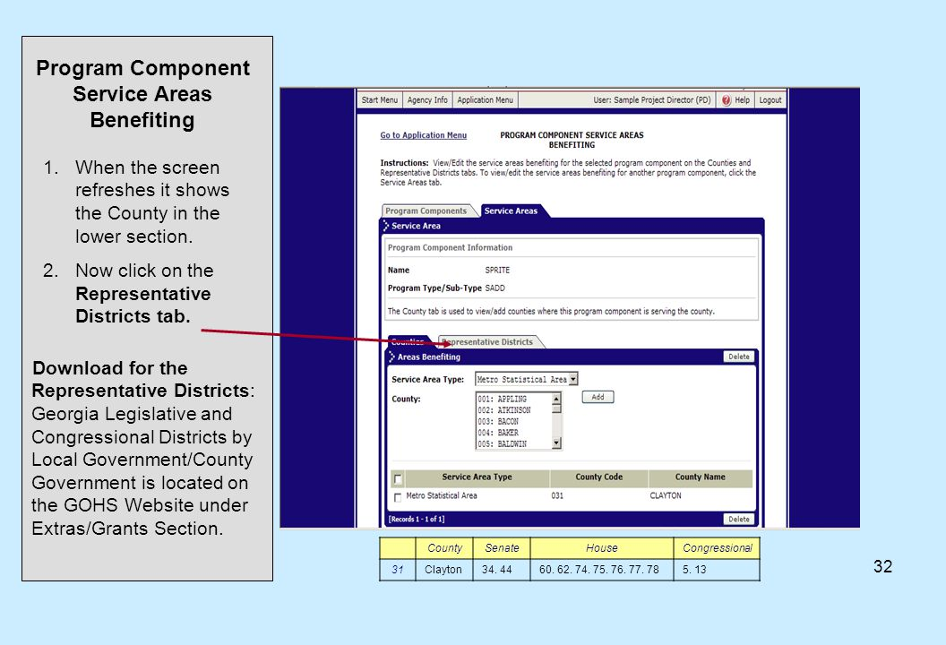 32 1.When the screen refreshes it shows the County in the lower section. 2.Now click on the Representative Districts tab. Program Component Service Ar