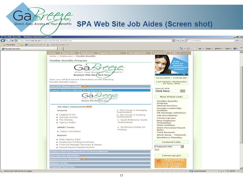 February 2010 17 APRIL 2010 SPA Web Site Job Aides (Screen shot)