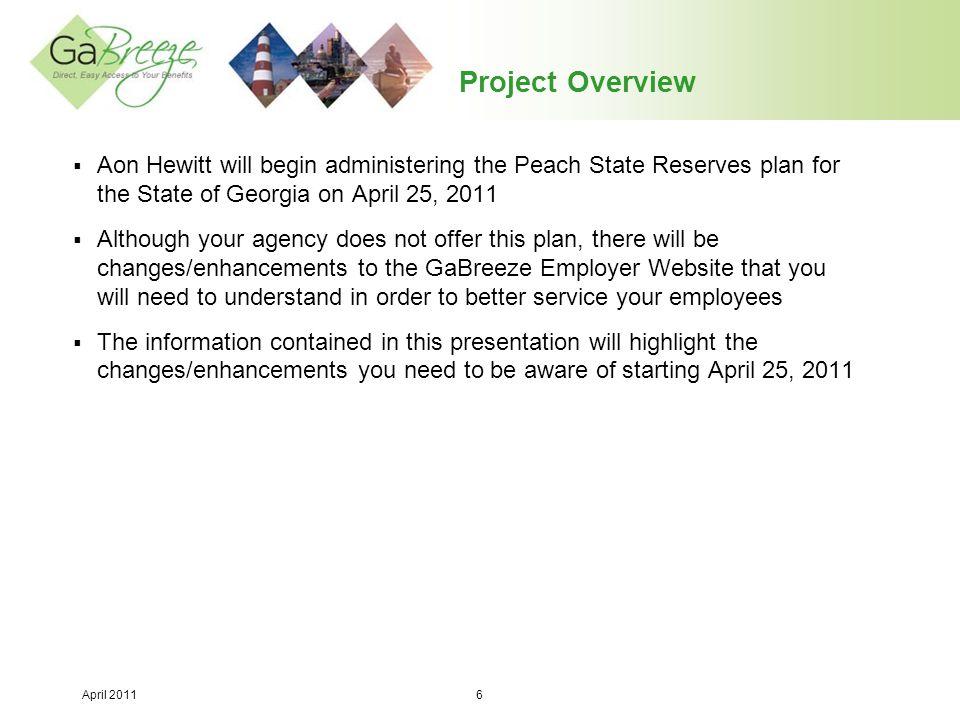 April 2011 7 GaBreeze Employer Website Enhancements