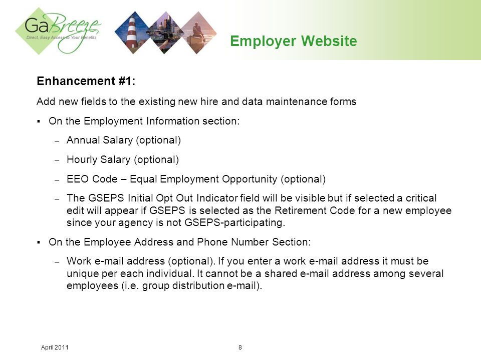 April 2011 19 Employer Website Enhancement #5: Add new fields to the Agency Profile page to indicate which plans the agency is participating in*  Flex  401(k)  457 *Aon Hewitt maintains this information for each agency and all agencies will be defaulted to the appropriate value on 4/25/11 when the PSR plan is live