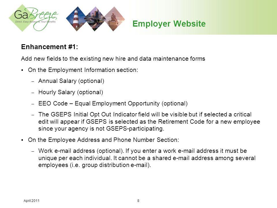 April 2011 9 Employer Website