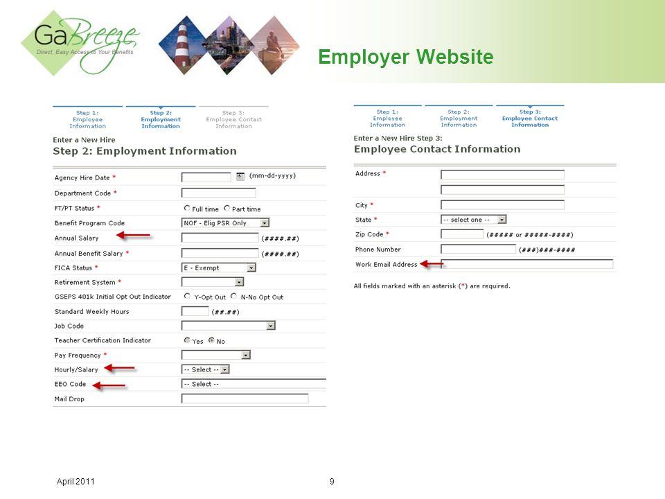 April 2011 20 Employer Website