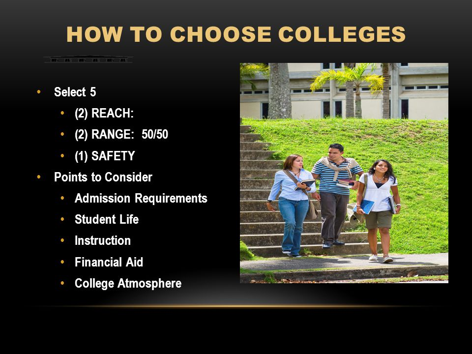 Select 5 (2) REACH: (2) RANGE: 50/50 (1) SAFETY Points to Consider Admission Requirements Student Life Instruction Financial Aid College Atmosphere HOW TO CHOOSE COLLEGES