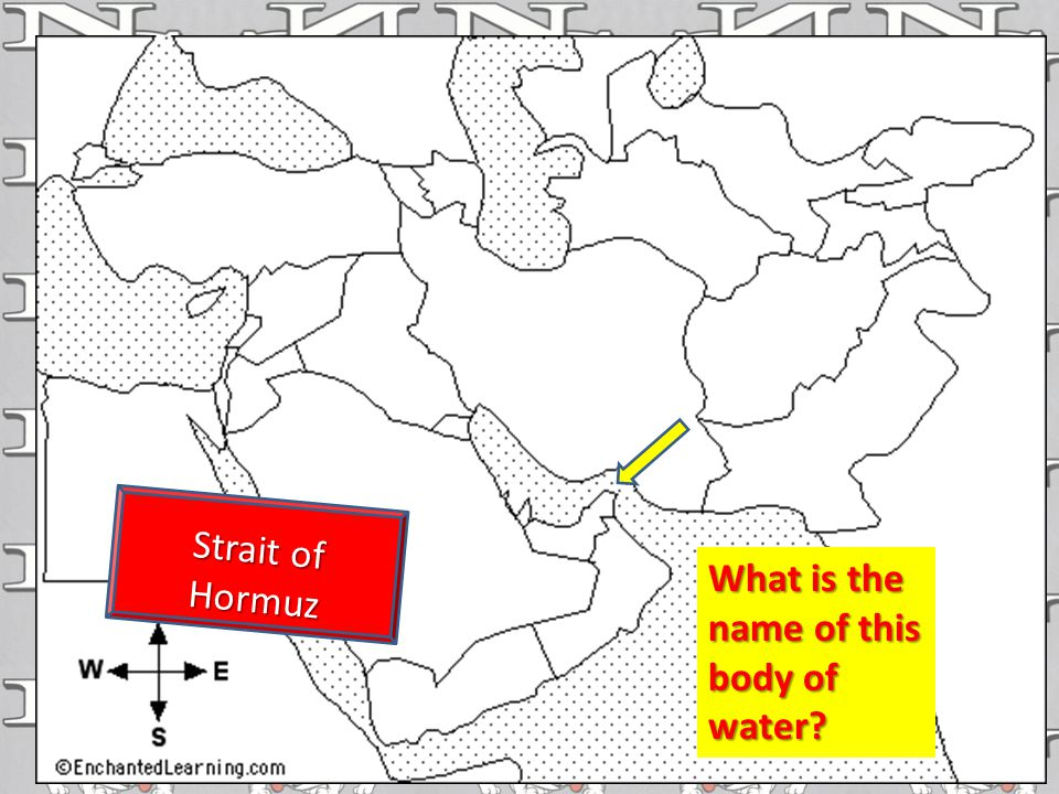 What is the name of this body of water? Strait of Hormuz