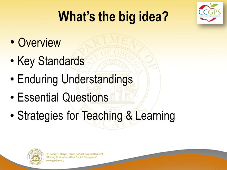 What's the big idea? Overview Key Standards Enduring Understandings Essential Questions Strategies for Teaching & Learning