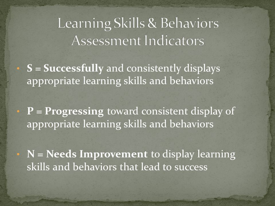 S = Successfully and consistently displays appropriate learning skills and behaviors P = Progressing toward consistent display of appropriate learning
