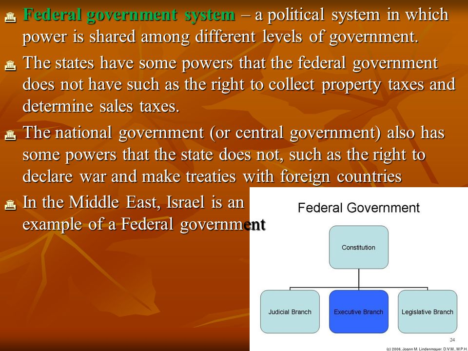  A confederation government system is one in which the local governments hold all of the power and the central government depends on the local governments for its existence  The central government has only as much power as the local governments are willing to give  The United Nations is a good example of a confederation  The United Nations can only offer advice and assistance when the member nations agree to cooperate  This organization is a regional group organized to help the member countries cooperate on economic matters, encourage cultural exchanges, and to help keep peace and stability in the region  In the Middle East, the Organization of Petroleum Exporting Countries (OPEC) is an example of a Confederation government
