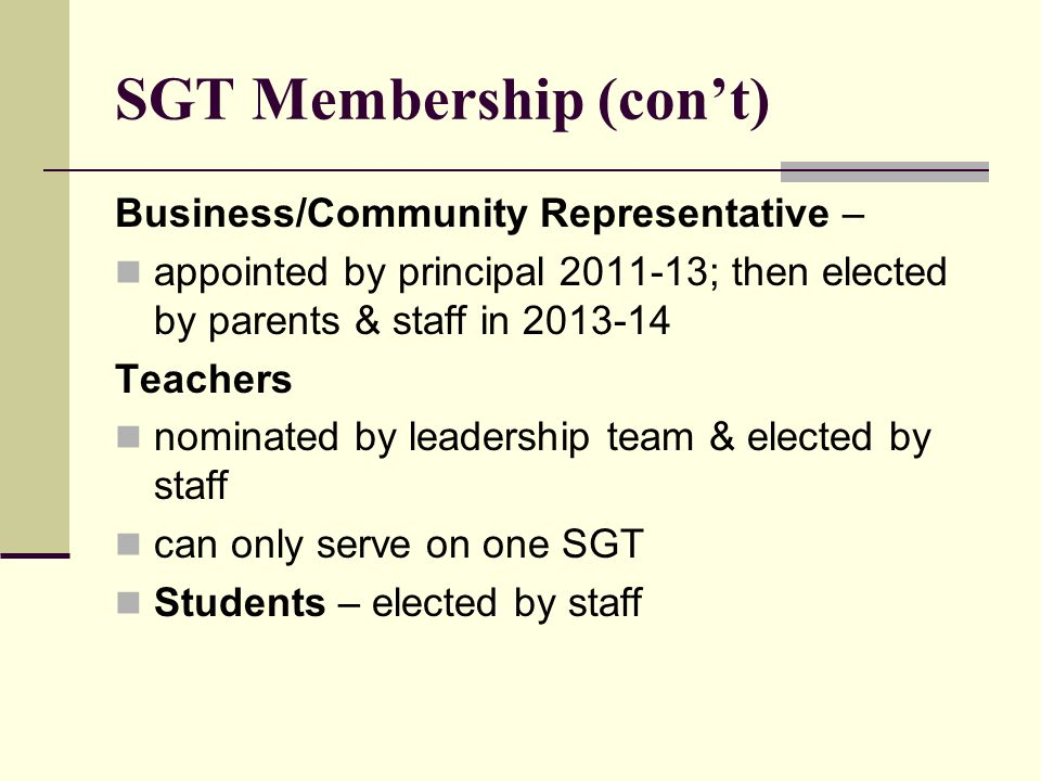 SGT Membership (con't) Business/Community Representative – appointed by principal 2011-13; then elected by parents & staff in 2013-14 Teachers nominated by leadership team & elected by staff can only serve on one SGT Students – elected by staff