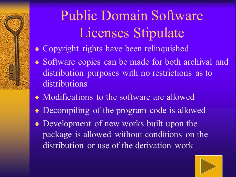 Freeware Software Licenses Stipulate  The software is covered by copyright  Copies of the software can be made for both archival and distribution pu