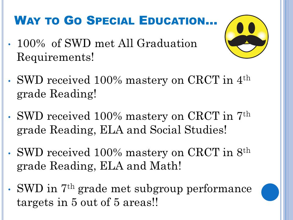 W AY TO G O S PECIAL E DUCATION … 100% of SWD met All Graduation Requirements! SWD received 100% mastery on CRCT in 4 th grade Reading! SWD received 1