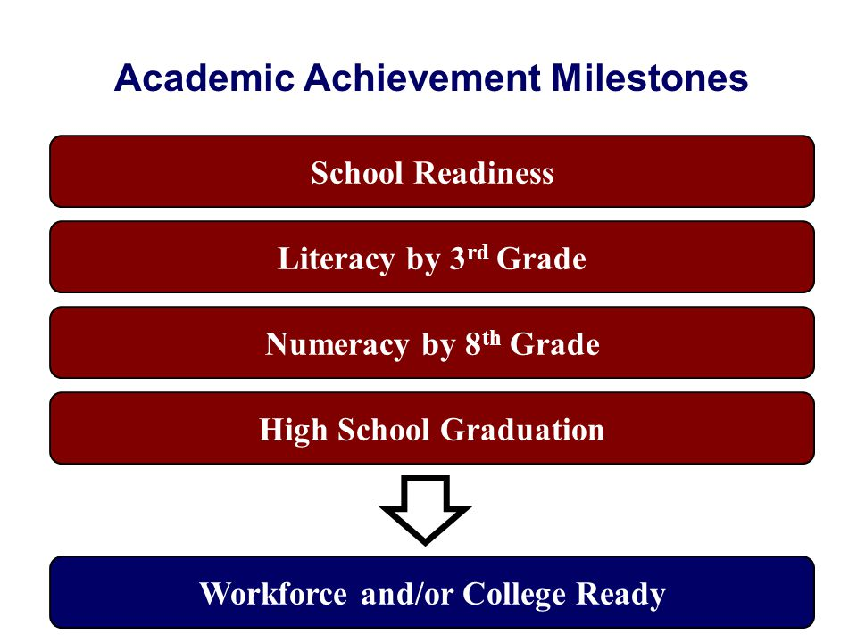 Academic Achievement Milestones School Readiness Literacy by 3 rd Grade Numeracy by 8 th Grade High School Graduation Workforce and/or College Ready