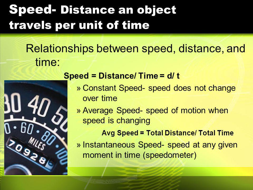 Speed- Distance an object travels per unit of time Relationships between speed, distance, and time: Speed = Distance/ Time = d/ t »Constant Speed- spe