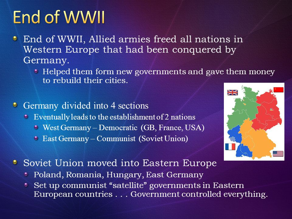 End of WWII, Allied armies freed all nations in Western Europe that had been conquered by Germany. Helped them form new governments and gave them mone
