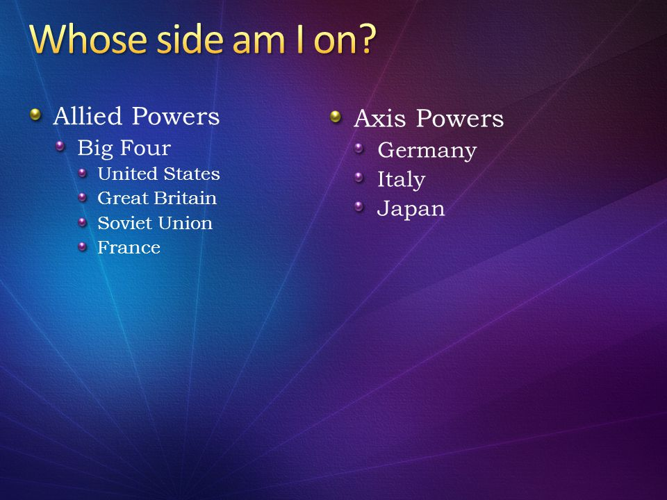Allied Powers Big Four United States Great Britain Soviet Union France Axis Powers Germany Italy Japan