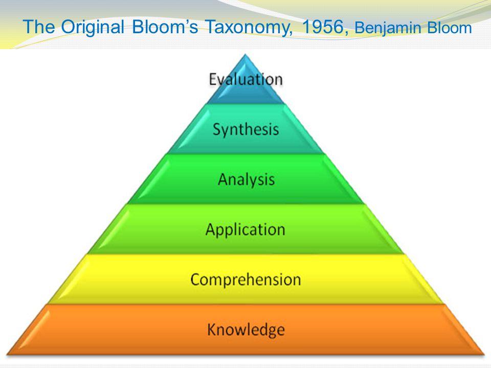 The Original Bloom's Taxonomy, 1956, Benjamin Bloom