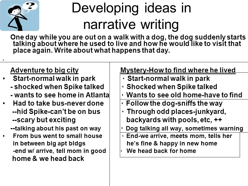 Developing ideas in narrative writing One day while you are out on a walk with a dog, the dog suddenly starts talking about where he used to live and how he would like to visit that place again.