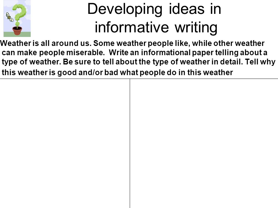 Developing ideas in informative writing Weather is all around us.