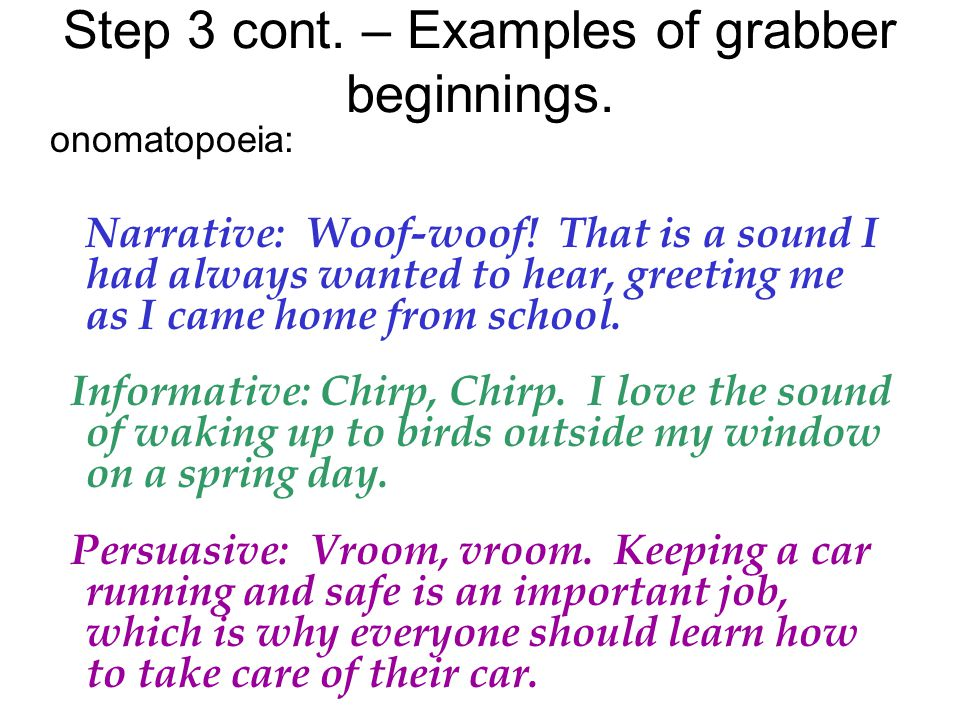 onomatopoeia: Narrative: Woof-woof.