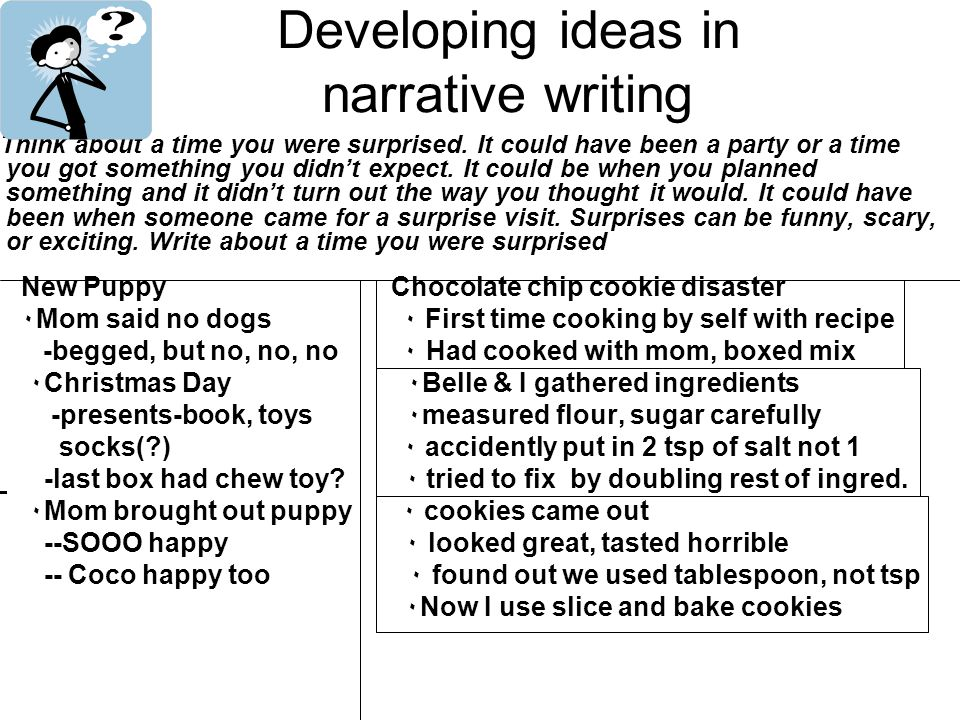 Developing ideas in narrative writing Think about a time you were surprised.