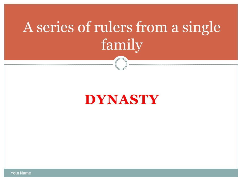 DYNASTY Your Name A series of rulers from a single family