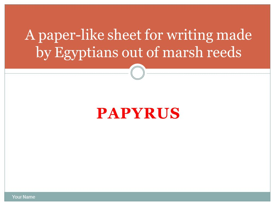 PAPYRUS Your Name A paper-like sheet for writing made by Egyptians out of marsh reeds