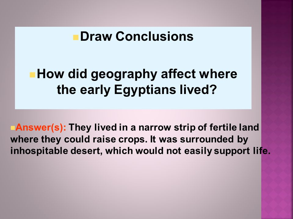 Draw Conclusions How did geography affect where the early Egyptians lived.