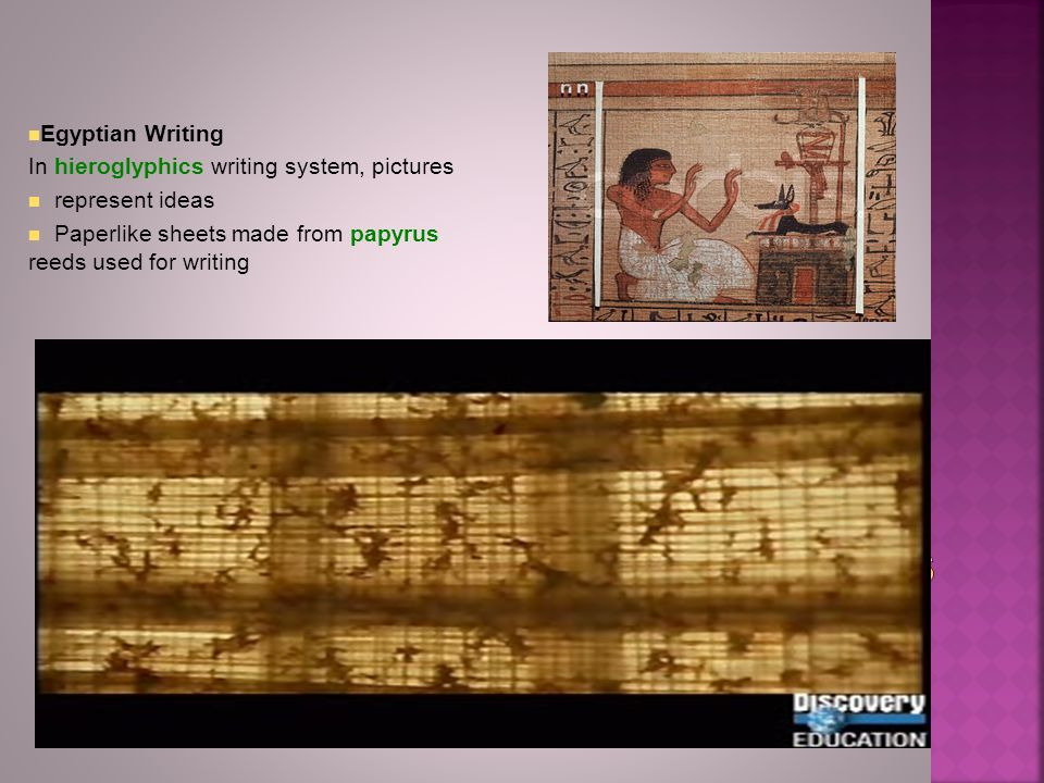 Egyptian Writing In hieroglyphics writing system, pictures represent ideas Paperlike sheets made from papyrus reeds used for writing