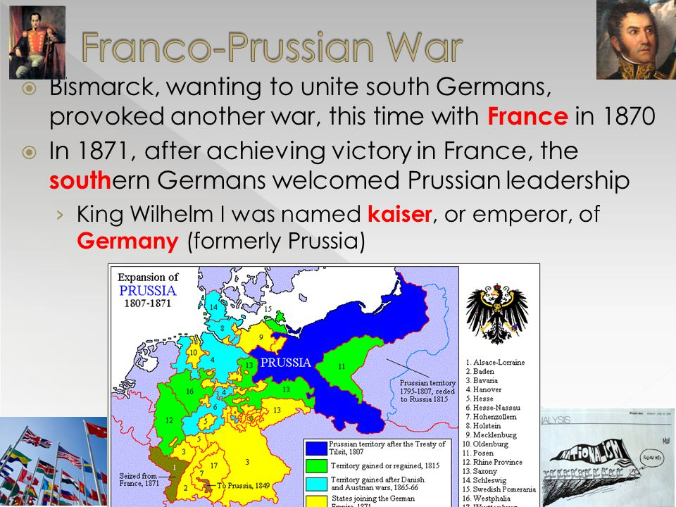  Bismarck, wanting to unite south Germans, provoked another war, this time with France in 1870  In 1871, after achieving victory in France, the sout
