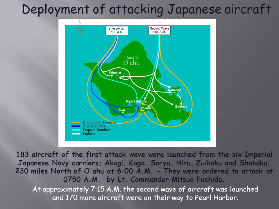  The attack was planned by Isoroku Yamamoto  The first attack occurred at 7:55 a.m.  The second attack followed at 8:54 a.m.