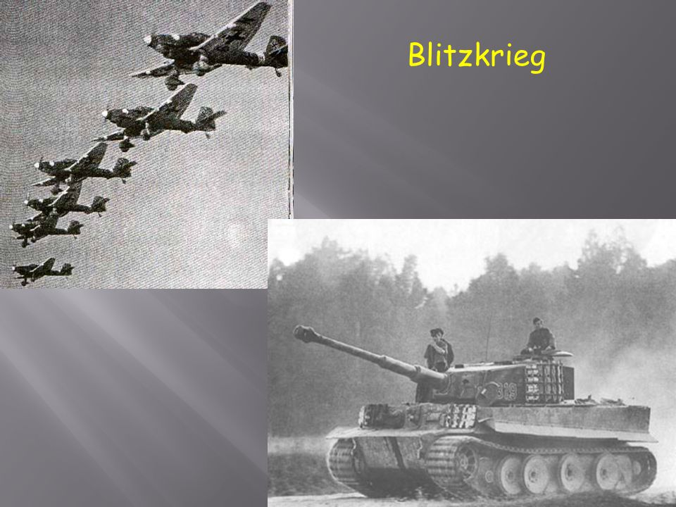 " In German blitzkrieg means ""lightning war"".  Hitler used blitzkrieg during his invasion of Poland.  Blitzkrieg included surprise attacks, rapid ad"