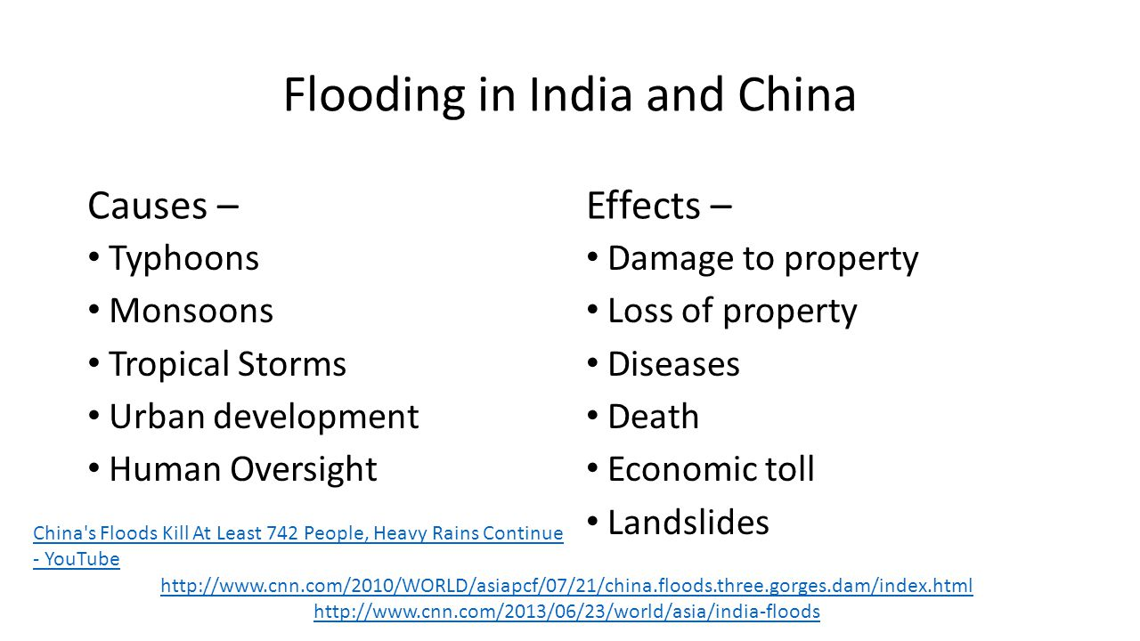 Flooding in India and China Causes – Typhoons Monsoons Tropical Storms Urban development Human Oversight Effects – Damage to property Loss of property