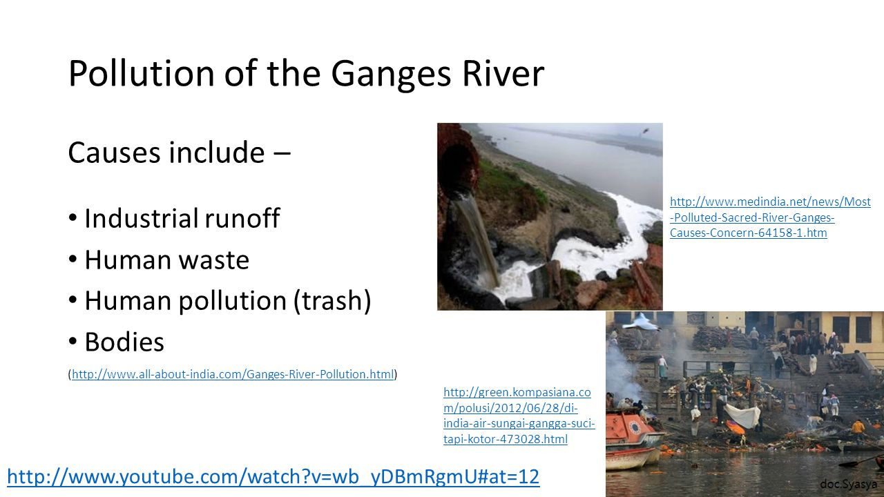 Pollution of the Ganges River Causes include – Industrial runoff Human waste Human pollution (trash) Bodies (http://www.all-about-india.com/Ganges-Riv