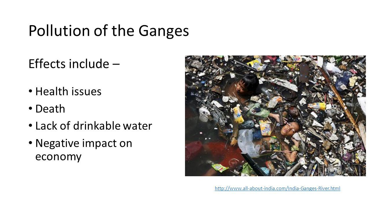 Pollution of the Ganges Effects include – Health issues Death Lack of drinkable water Negative impact on economy http://www.all-about-india.com/India-