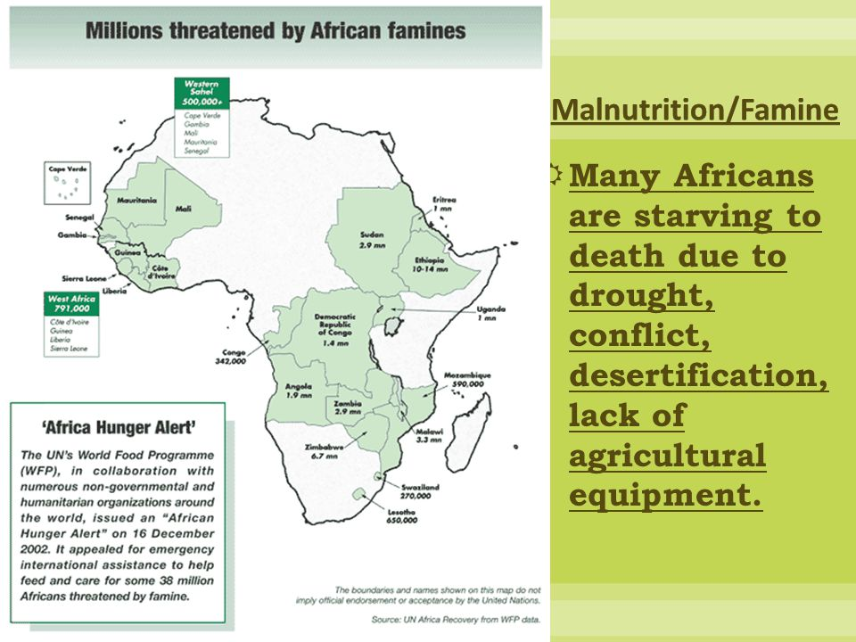  Many Africans are starving to death due to drought, conflict, desertification, lack of agricultural equipment.