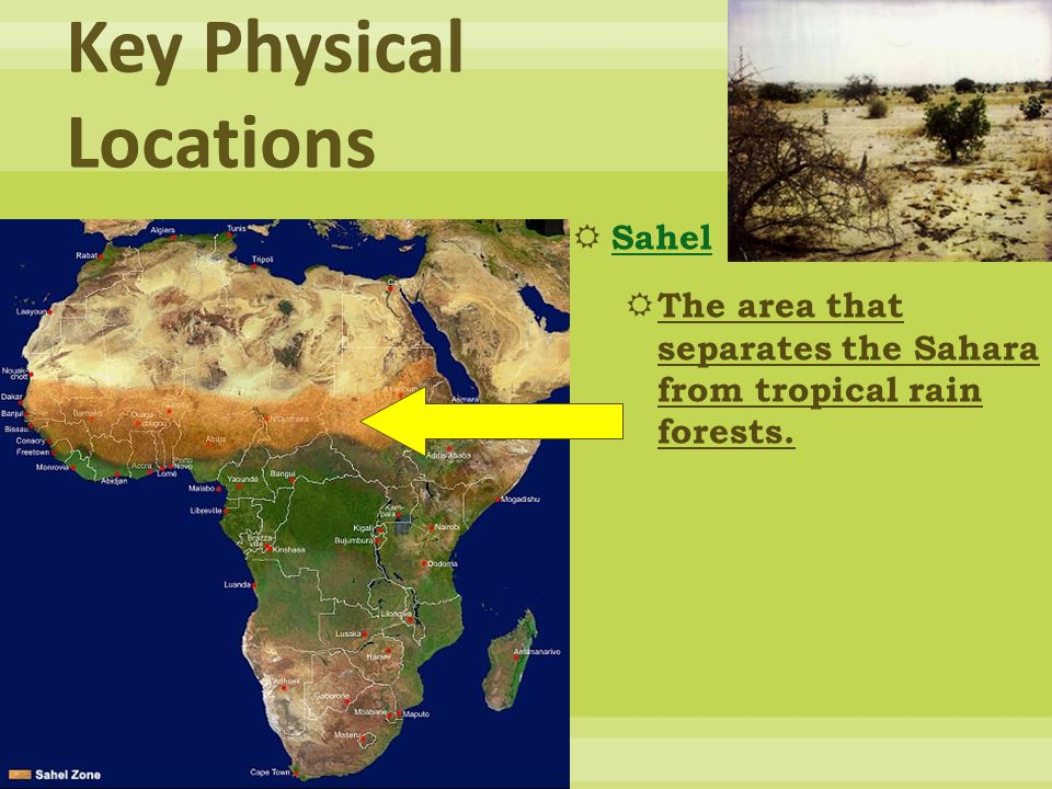  Sahel Sahel  The area that separates the Sahara from tropical rain forests.