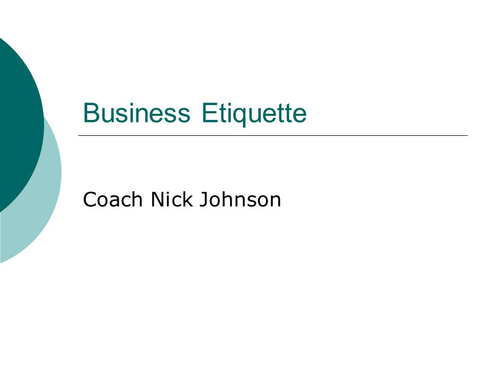 Business Etiquette Coach Nick Johnson
