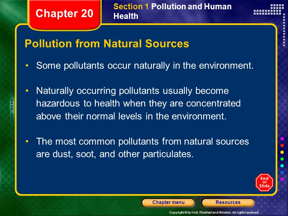 Copyright © by Holt, Rinehart and Winston. All rights reserved. ResourcesChapter menu Section 1 Pollution and Human Health Pollution from Natural Sour