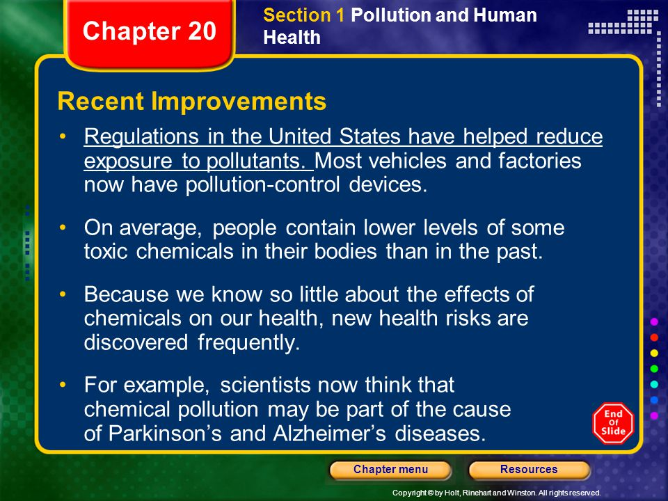 Copyright © by Holt, Rinehart and Winston. All rights reserved. ResourcesChapter menu Section 1 Pollution and Human Health Recent Improvements Regulat