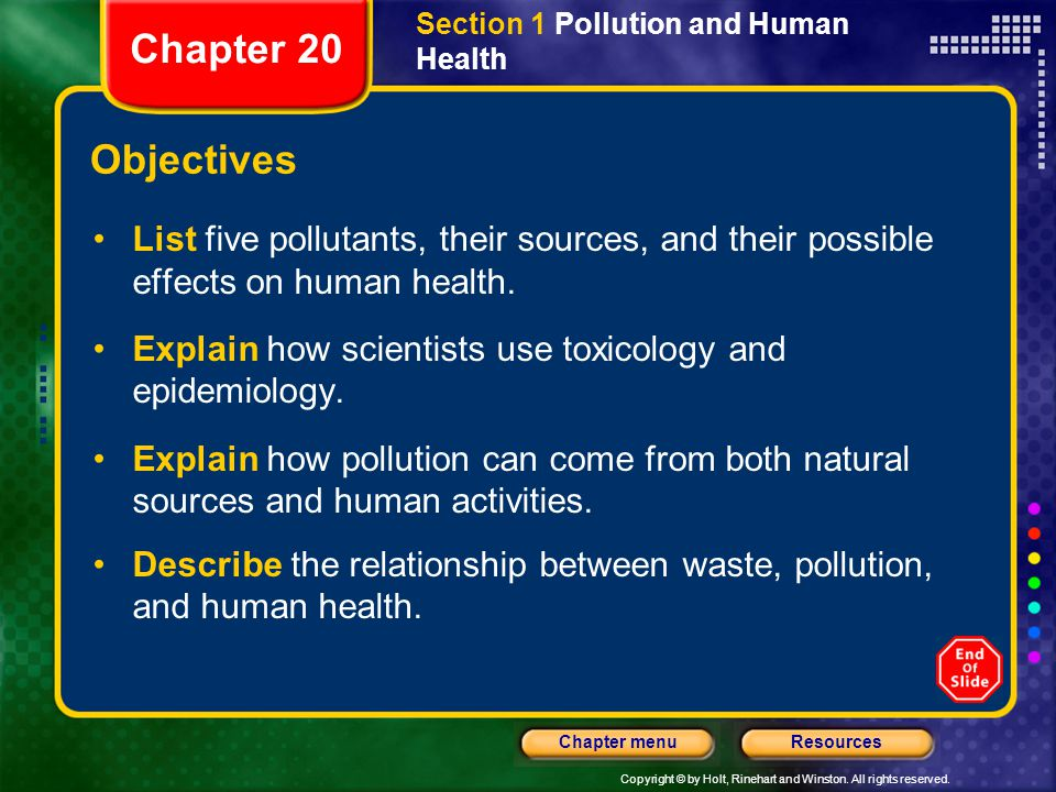 Copyright © by Holt, Rinehart and Winston. All rights reserved. ResourcesChapter menu Section 1 Pollution and Human Health Objectives List five pollut