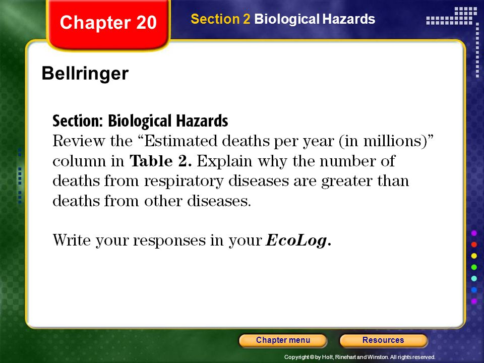 Copyright © by Holt, Rinehart and Winston. All rights reserved. ResourcesChapter menu Bellringer Chapter 20 Section 2 Biological Hazards