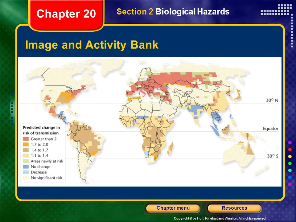 Copyright © by Holt, Rinehart and Winston. All rights reserved. ResourcesChapter menu Image and Activity Bank Chapter 20 Section 2 Biological Hazards