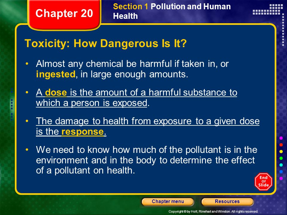 Copyright © by Holt, Rinehart and Winston. All rights reserved. ResourcesChapter menu Section 1 Pollution and Human Health Toxicity: How Dangerous Is