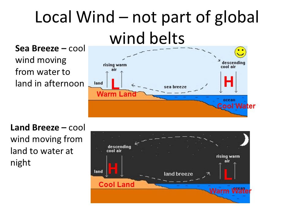 Local Wind – not part of global wind belts Land Breeze – cool wind moving from land to water at night Sea Breeze – cool wind moving from water to land in afternoon H H L L Warm Land Cool Water Cool Land Warm Water