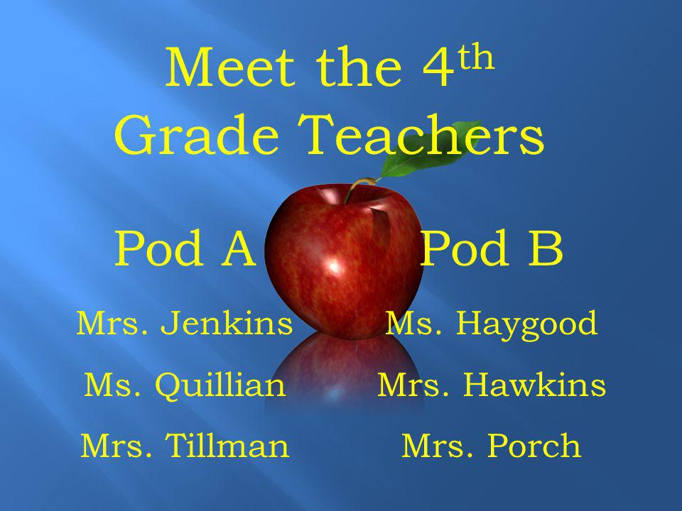 Meet the 4 th Grade Teachers Pod B Ms. Haygood Mrs.