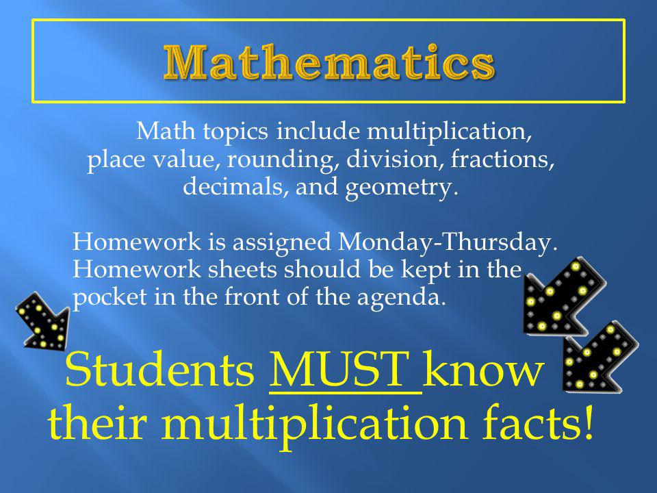 Math topics include multiplication, place value, rounding, division, fractions, decimals, and geometry.