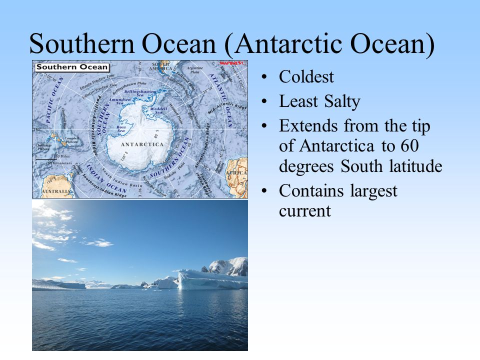 Southern Ocean (Antarctic Ocean) Coldest Least Salty Extends from the tip of Antarctica to 60 degrees South latitude Contains largest current