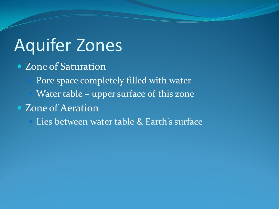 Aquifer Zones Zone of Saturation Pore space completely filled with water Water table – upper surface of this zone Zone of Aeration Lies between water