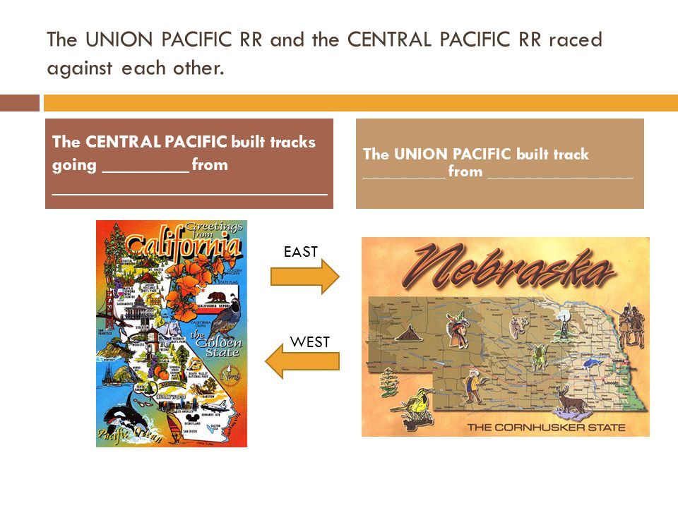 The UNION PACIFIC RR and the CENTRAL PACIFIC RR raced against each other.