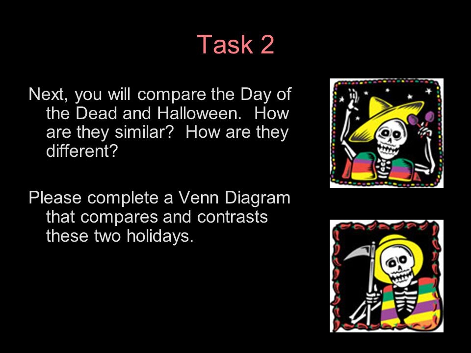 Task 2 Next, you will compare the Day of the Dead and Halloween. How are they similar? How are they different? Please complete a Venn Diagram that com